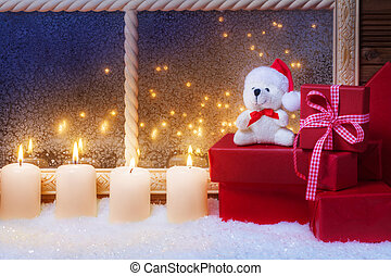 kerzen, geschenke, teddy