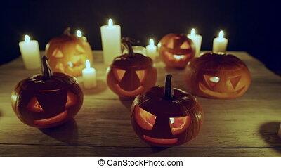 kerzen, halloween, jack-o-latern, kürbise
