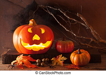 kerzen, halloween, o, dekoration, wagenheber, kã¼rbis,...