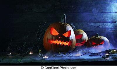 kerzen, kürbise, halloween