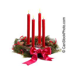 kerzen, kranz, weihnachten, rotes