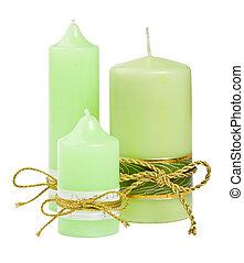 kerzen, mit, a, goldenes, geschenkband