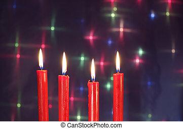kerzen, weihnachten, rotes