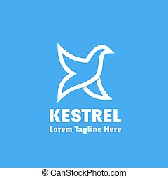 Kestrel Abstract Vector Sign, Emblem or Logo Template. Bird...