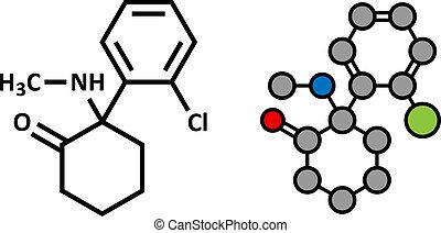 ketamine, anesthésique, utilisé, deux, molécule, drogue,...