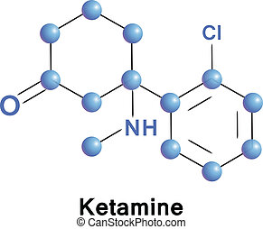 Ketamine chemical compound molecular structure. Vector illustration.