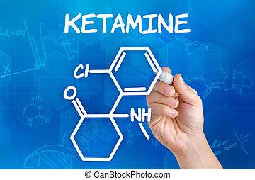 ketamine, main, chimique, stylo, formule, dessin