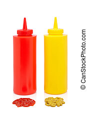 Ketchup and mustard bottles isolated on a white background