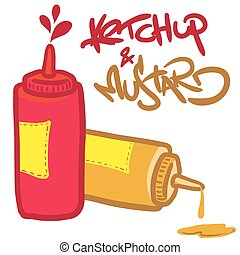ketchup and mustard cartoon illustration