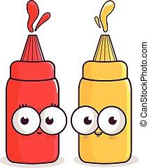 Cartoon bottles of tomato ketchup and mustard. Vector illustration