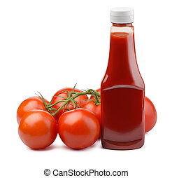 Ketchup bottle and fresh tomatoes isolated on white