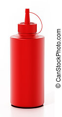 Ketchup bottle isolated on white background. 3D illustration