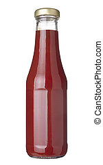 close up of ketchup bottle on white background with clipping path