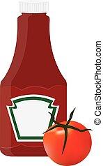 Ketchup bottle - Tomato ketchup, sauce bottle vector icon, ...