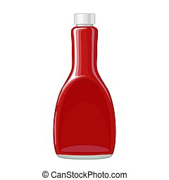 Ketchup bottle. Vector flat color illustration isolated on white background