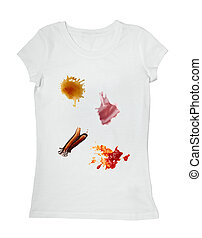 collection of various food stains from ketchup, chocolate, coffee and wine on white t shirt