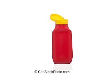 ketchup., concetto, bottiglia, dieta