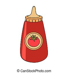 Ketchup in bottle icon, vector illustration.