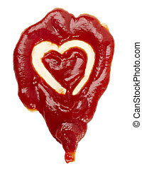 ketchup, mancha, forma coração, amor, alimento