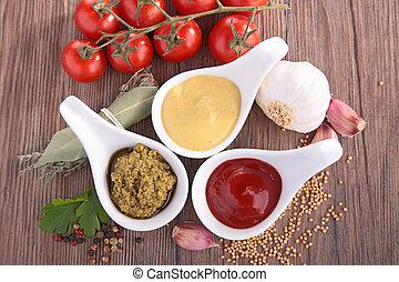 ketchup,  Mayo, mostarda