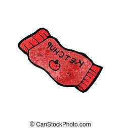ketchup, pacchetto, cartone animato