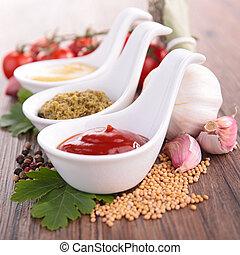 ketchup, pesto sauce and mustard