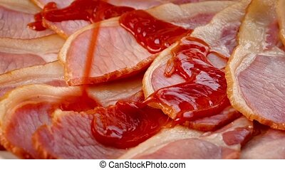 Ketchup Put On Bacon - Tomato sauce put on delicious cooked...