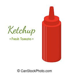 Ketchup sauce bottle, red spicy condiment. Cartoon flat style. Vector