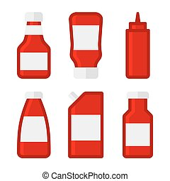 Ketchup Sauces Bottles and Packages Set. Vector Illustration