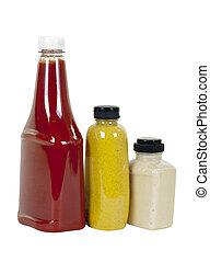 ketchup, senap, och, pepparrot, in, bottles;, synvinkel, synhåll