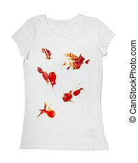 ketchup stain dirty t shirt clothing - close up ketchup...