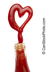 close up of ketchup stains formin heart shape on white background with clipping path