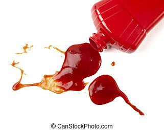 ketchup, vlek, vieze , kruiden, specerij, voedingsmiddelen