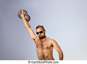 ketel, klok, atleet, gedresseerd, mannelijke , luchtschommel, one-handed