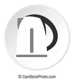 ketel, stijl, pictogram, elektrisch, plat