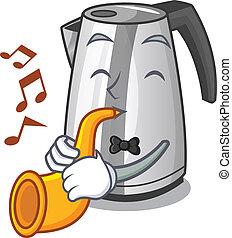 ketel, trompet, elektrisch, keuken, mascotte