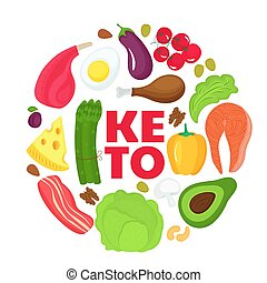 Atkins Low Carb Diet Concept Illustration With Meat Fatty Fish Eggs Vegetables Cheese And Nuts Vector Drawing With