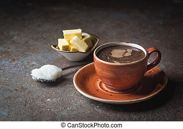 keto, breakfast., コーヒー, 防弾