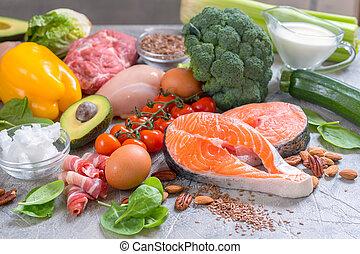 keto, comer, saudável, ketogenic, alimento, baixo, carb, dieta, refeição, plano