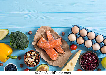Keto diet ingredient . Healthy background . Ketogenic protein food .