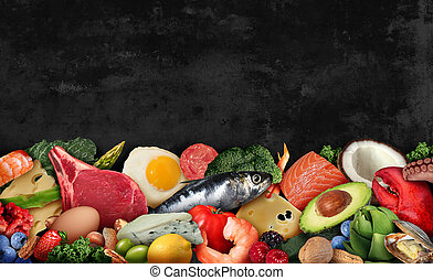 Keto food background as a nutrition lifestyle and ketogenic diet low carb and high fat eating as fish nuts eggs meat avocado and other healthy ingredients as a therapeutic meal with text area in a 3D illustration style.