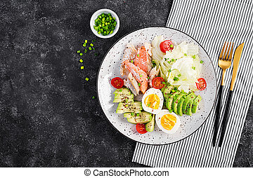 Ketogenic diet, breakfast. Eggs, fish and avocado, lettuce ...