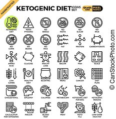 Ketogenic diet concept icons set in modern line icon style...