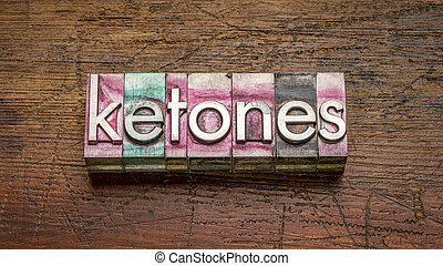 ketones word in gritty vintage letterpress metal type
