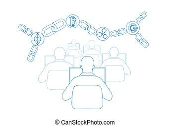 kette, abstrakt, global, cryptocurrency, kräuselung, blaues, informationen, gcc, bitcoin, ethereum, sicherheit, digital, international, bergbau, web, groß, internet, connection., abbildung, muenze, daten, zahlung, technology., vektor