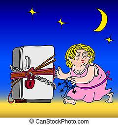 kettensperre, symbol, -, diät, kühlschrank