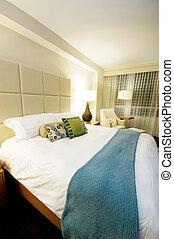 kettes ágy, alatt, a, modern, belső, szoba