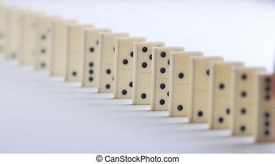 ketting, dominoeffect, domino, witte , reaction., het vallen