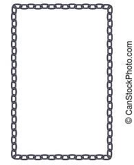 ketting, eenvoudig, vlakte, frame, metaal, vrijstaand