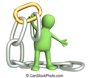 ketting, goud, schakel